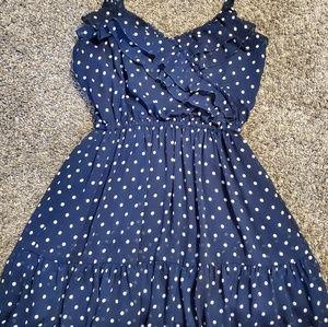 Navy blue polka dot sun dress